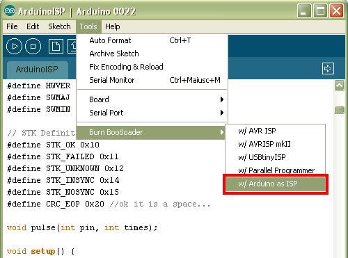 Caricamento bootloader tramite ISP