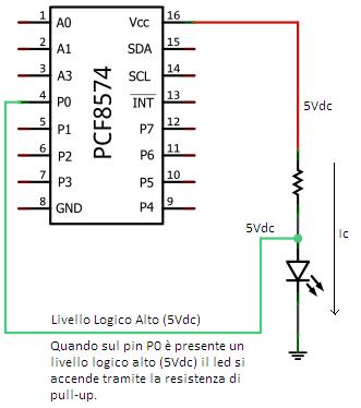 PCF8574ap led on