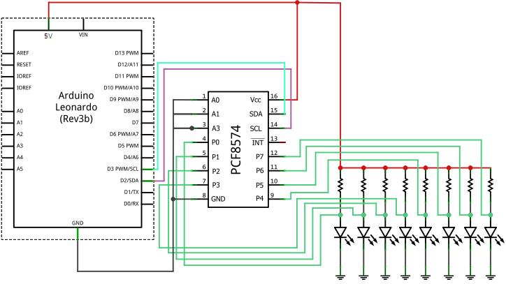 Arduino Leonardo PCF8574AP