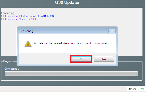 Confirm G30 firmware update
